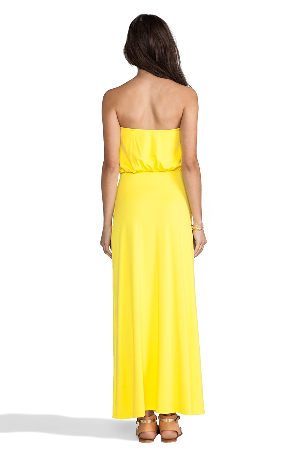 "Susana Monaco Light Supplex Blouson Tube 40"" Dress in Yellowtail"