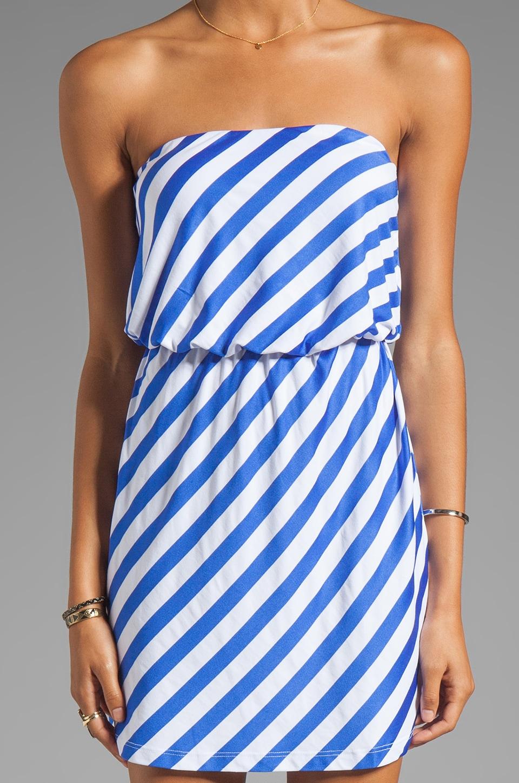 "Susana Monaco Stripe Supplex Marie 18"" Strapless Dress in Topaz/Sugar"