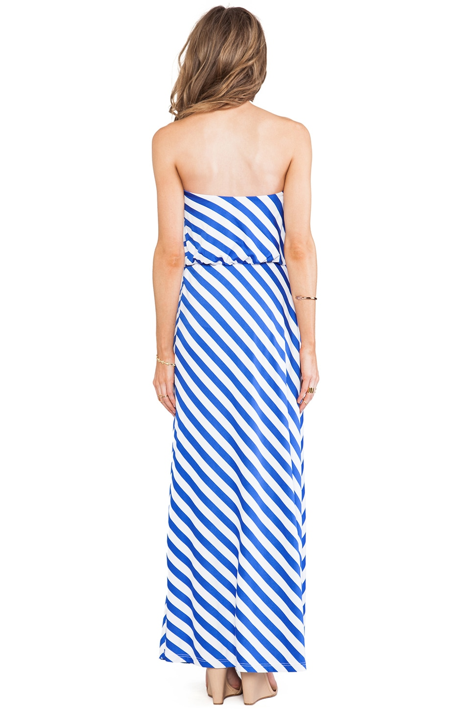 "Susana Monaco Stripe Supplex Tube 40"" Dress in Topaz/Sugar"