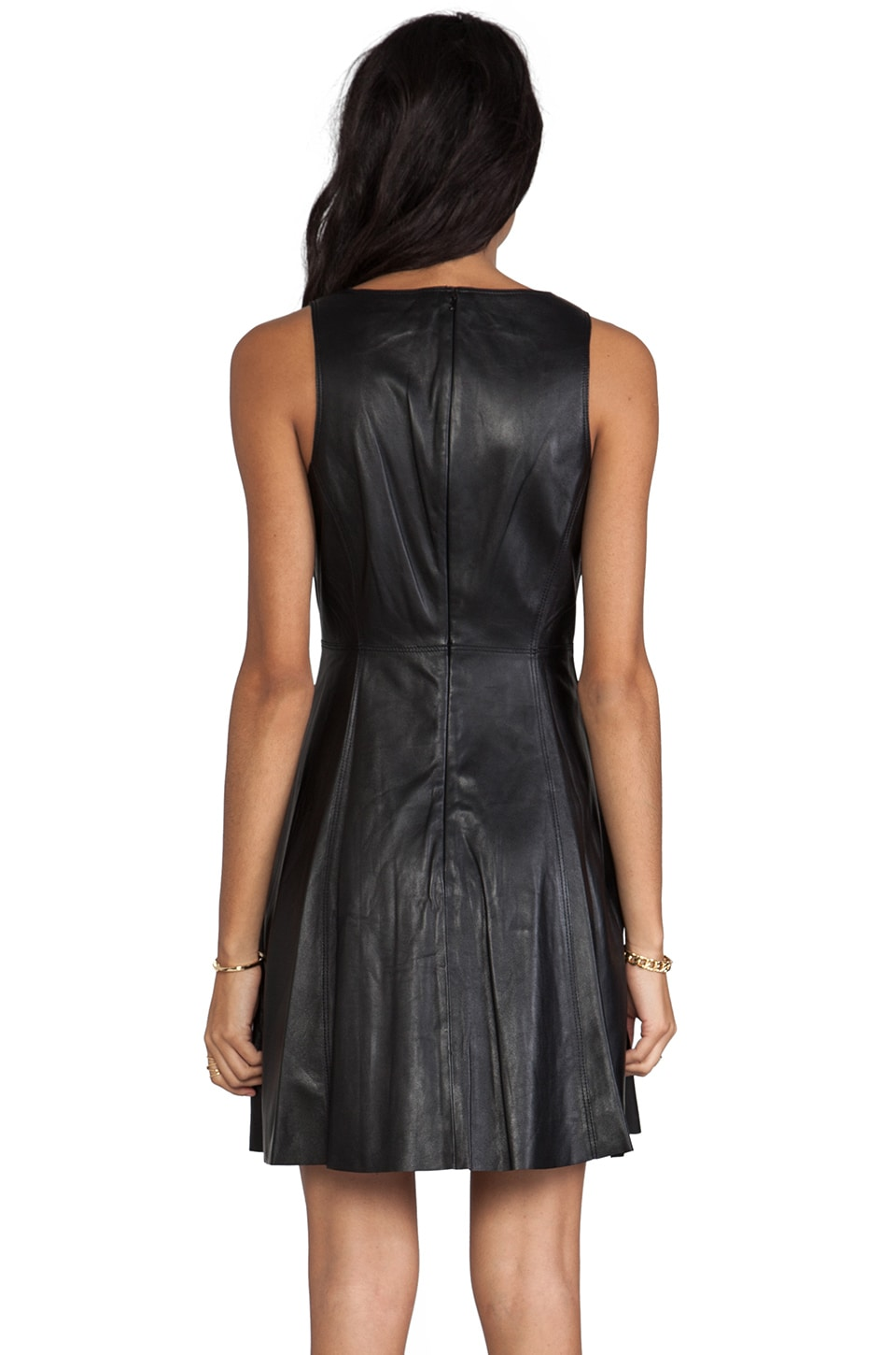 "Susana Monaco Novelty Leather Adele 17"" Dress in Black"
