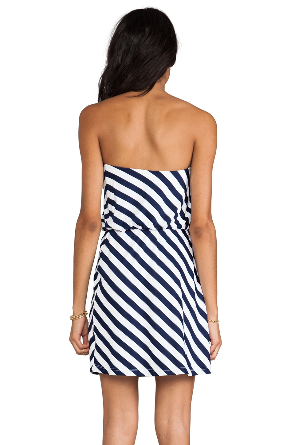 "Susana Monaco Stripe Supplex Marie 18"" Strapless Dress/White in Indigo"