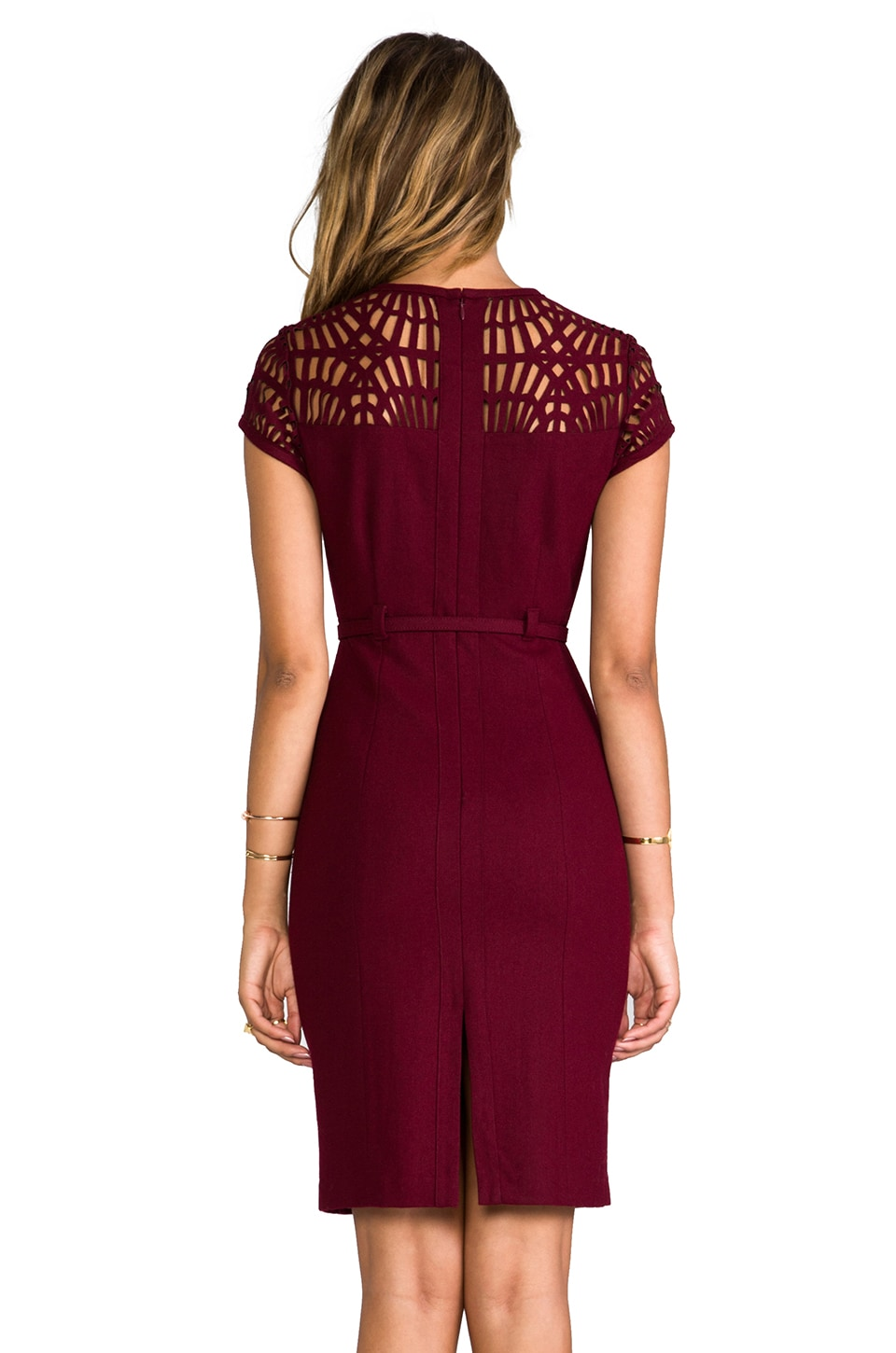 "Susana Monaco Novelty Laser Cut Wool Lily 25"" Dress in Oxblood"