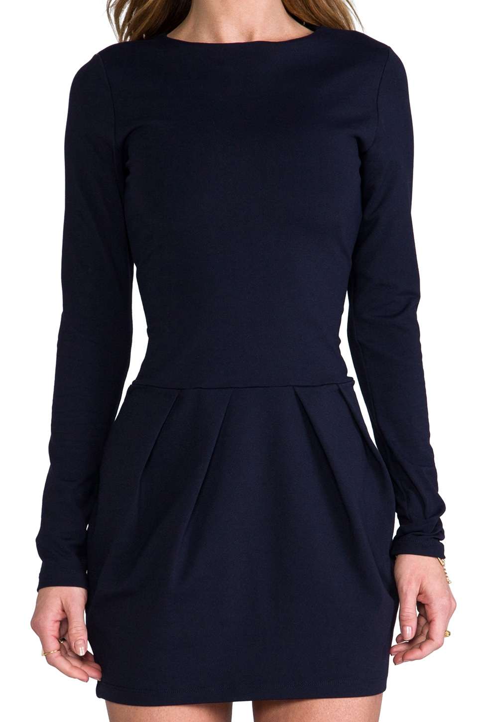 "Susana Monaco Diagonal Pleat 17"" Dress in Midnight"