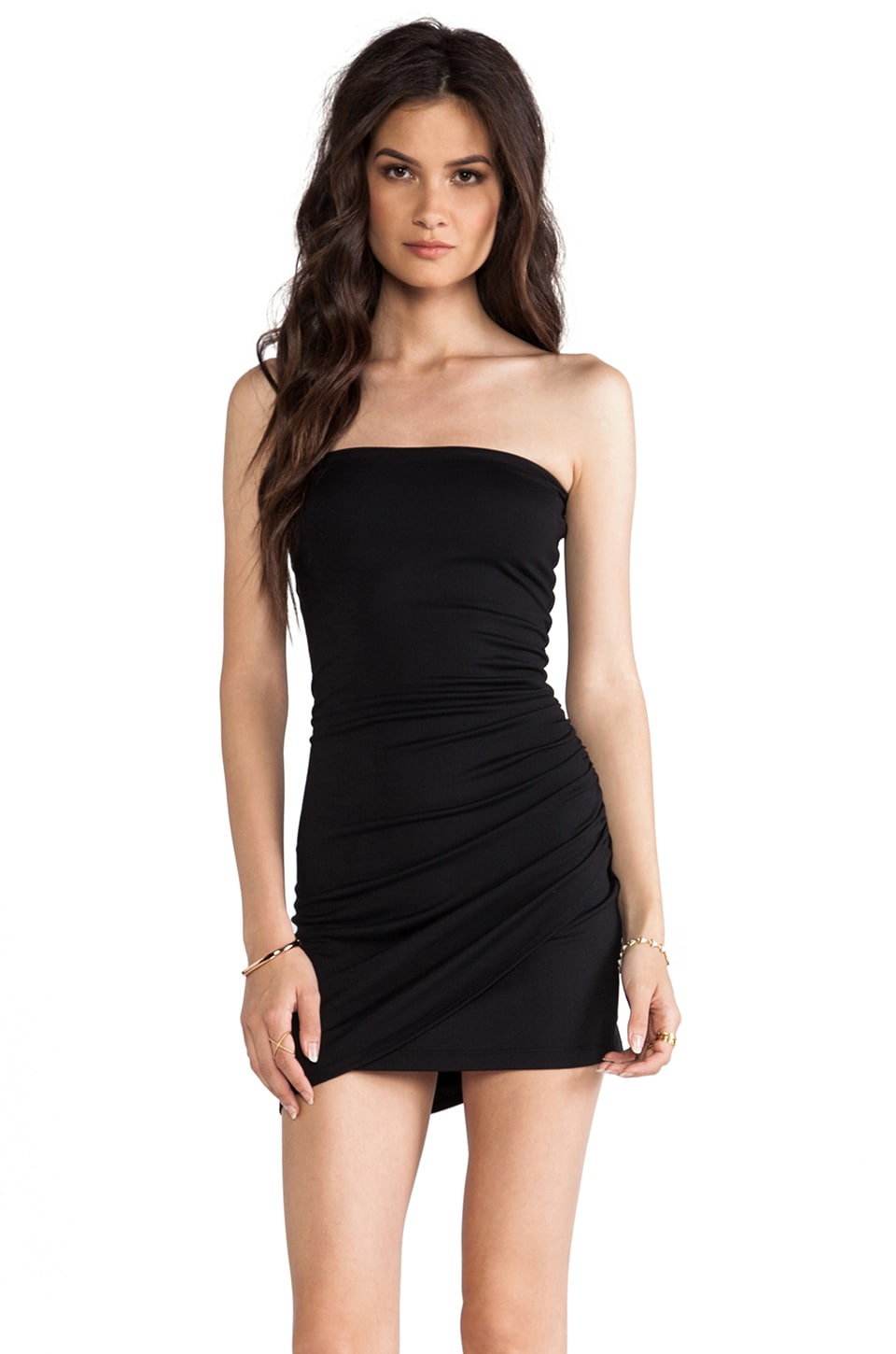 Susana Monaco Alexa Side Drape Strapless Dress in Black