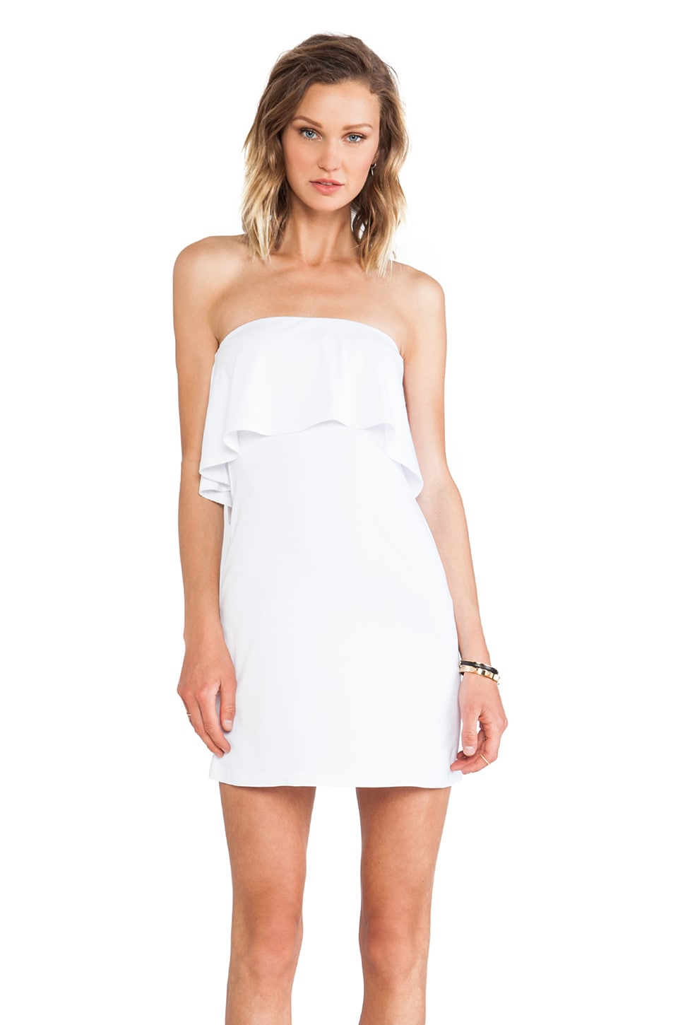 Susana Monaco Sansa Ruffle Top Strapless Dress in Sugar