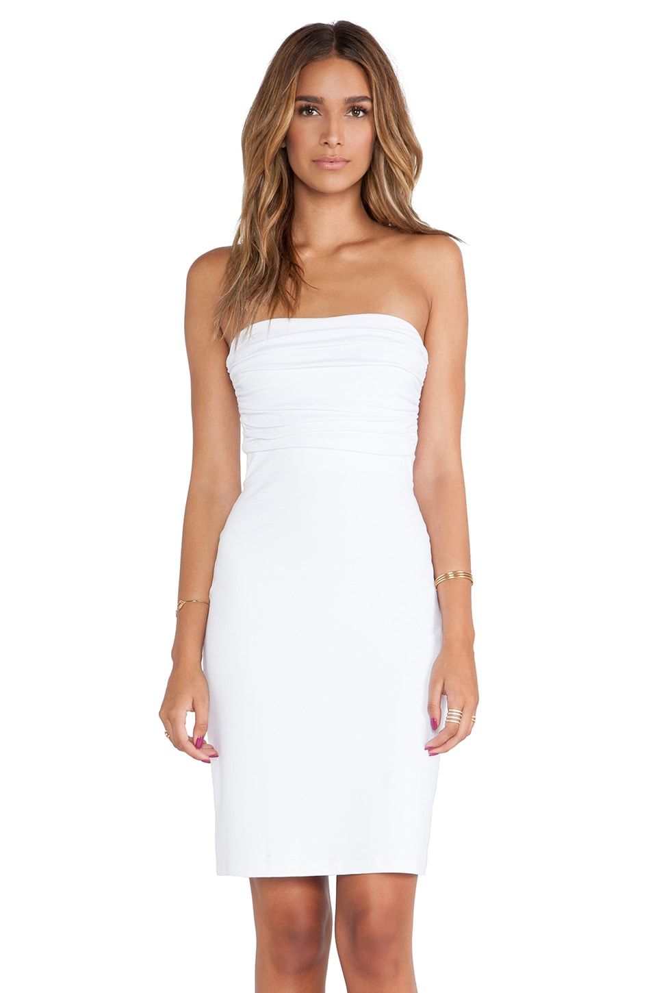 Susana Monaco Strapless Rouched Dress in Sugar