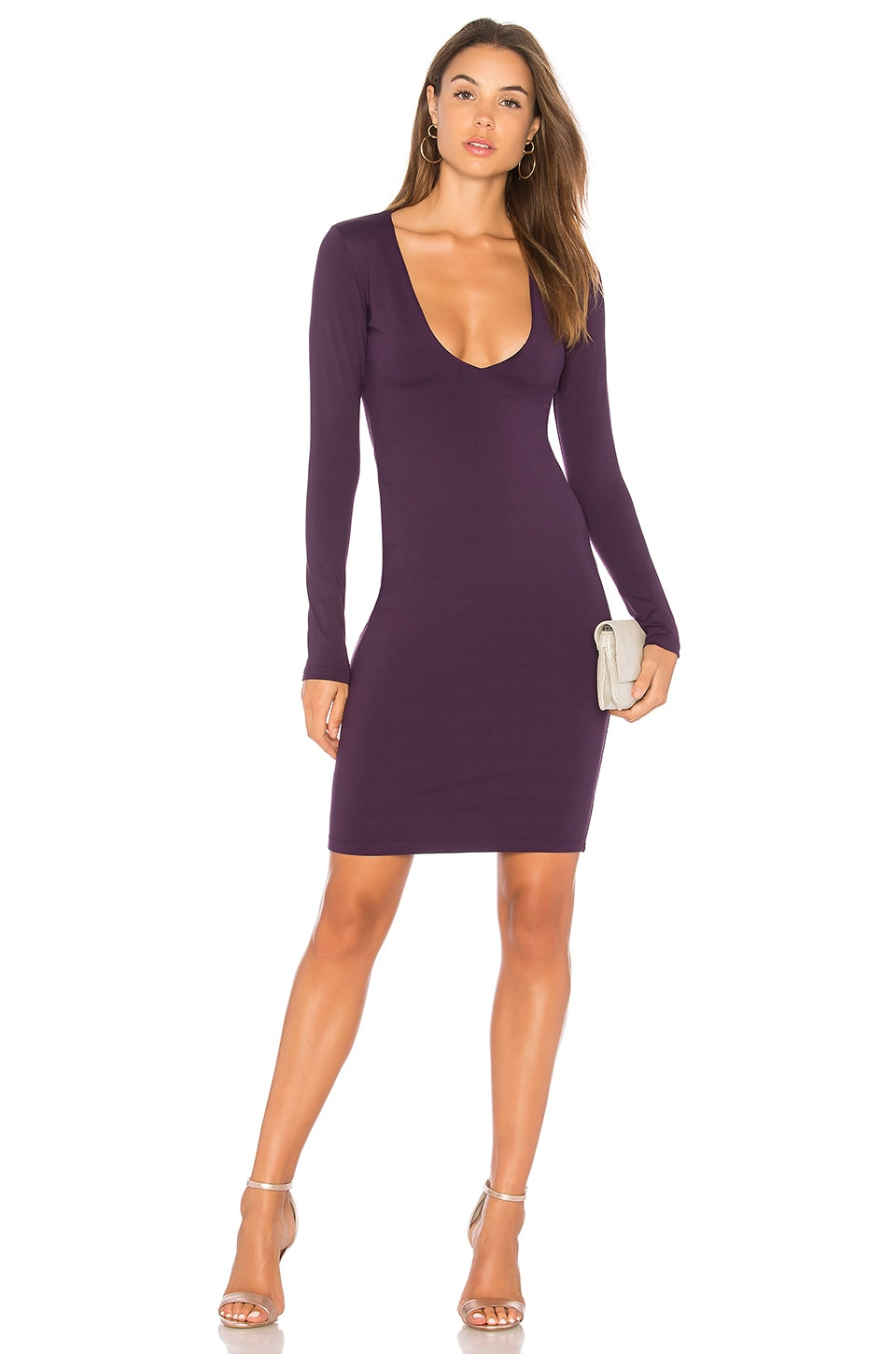 Fitted V Neck Dress in Purple. - size S (also in XS) Susana Monaco Cheap Price Outlet fOfrqPyA