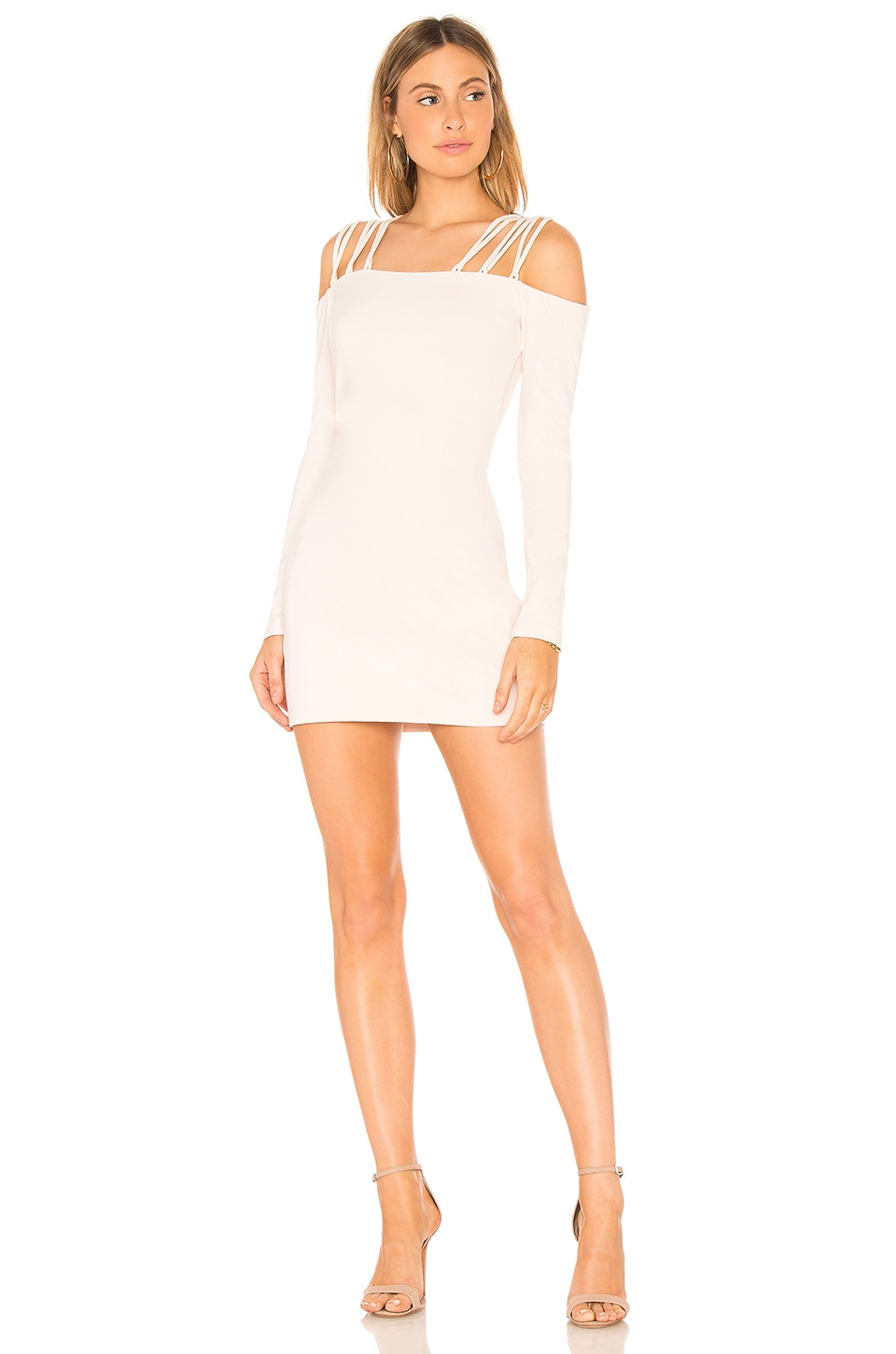 Susana Monaco Laced Off Shoulder Dress in Creme