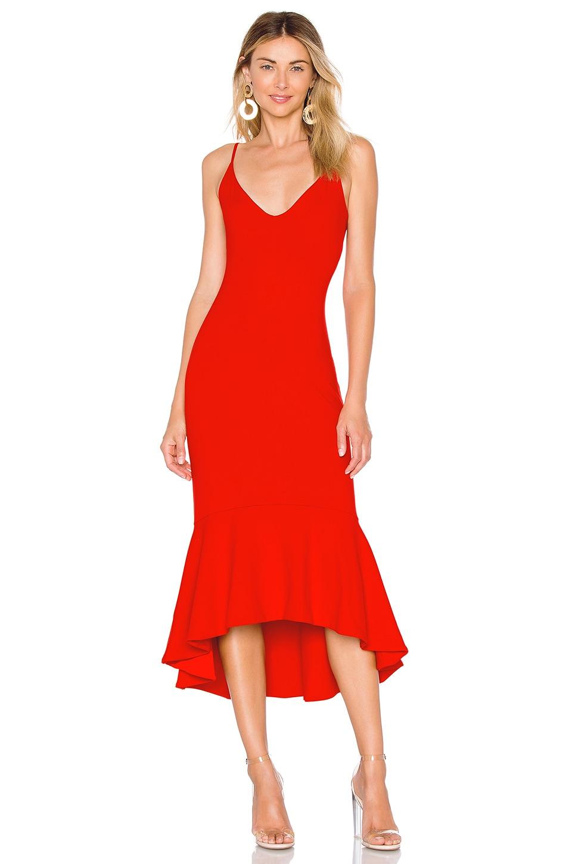 Susana Monaco Ruffle Hem Dress in Perfect Red