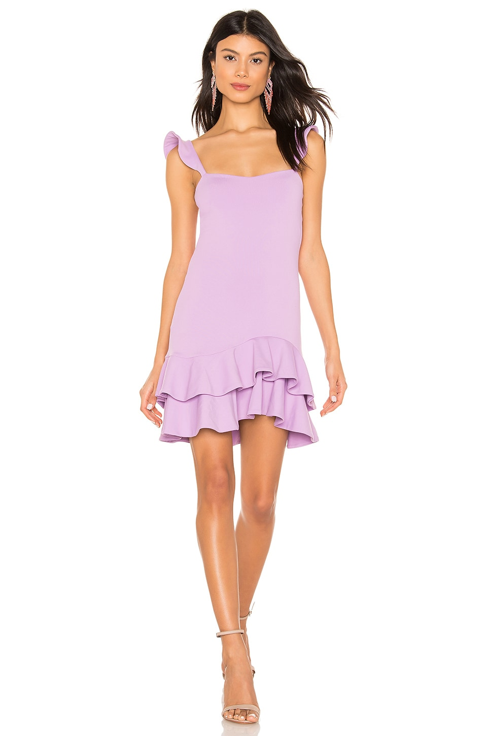 Susana Monaco Ruffle Strap Dress in Violet