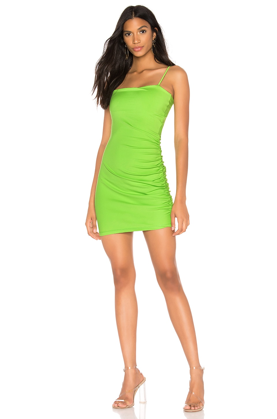 Susana Monaco Thin Strap Side Gather Dress in Limelight