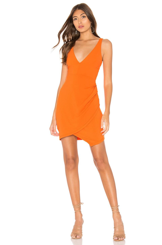 Plunge Neckline Side Pleat Dress