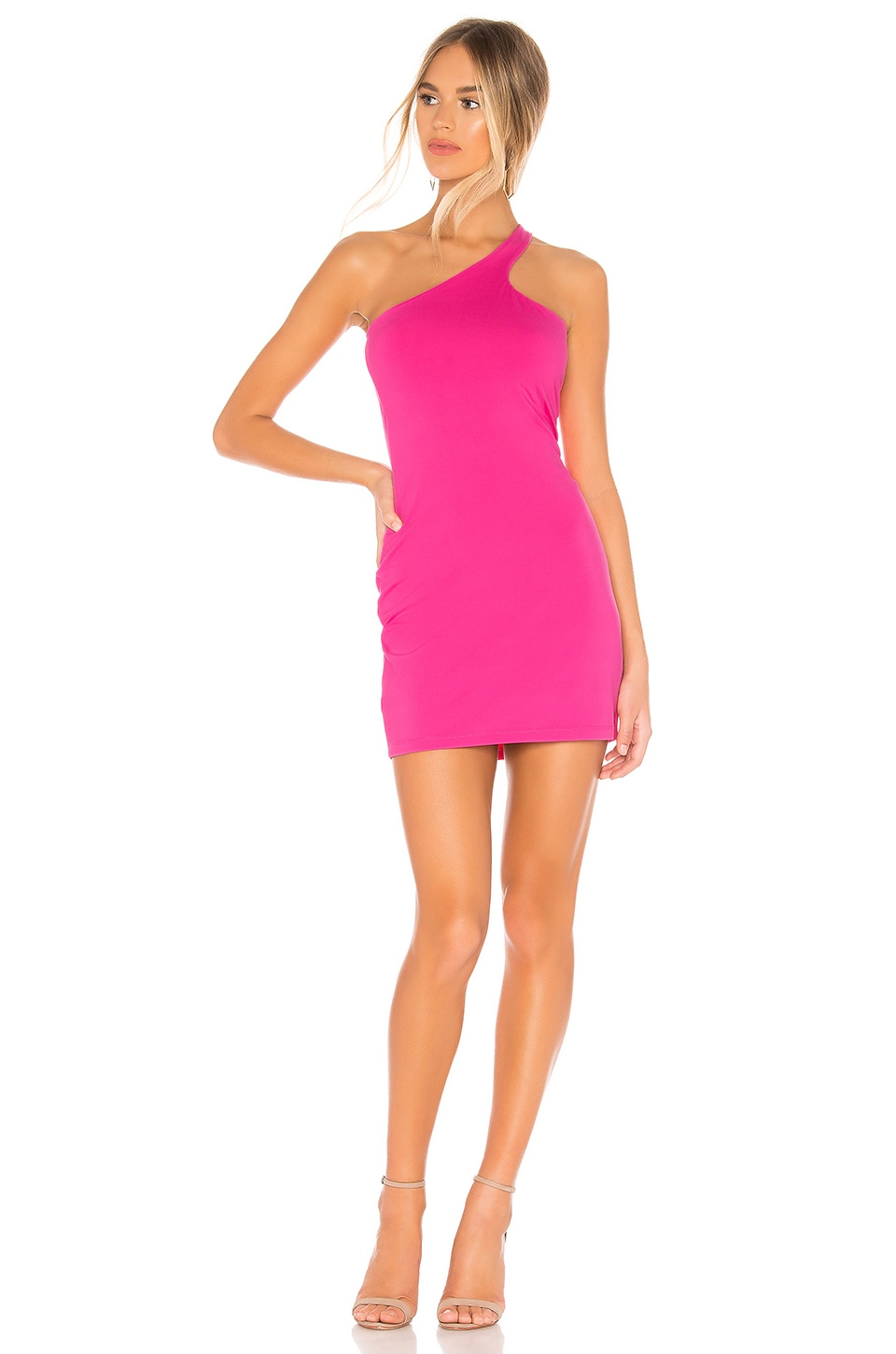 Susana Monaco Curved One Shoulder Dress in Punch Pink