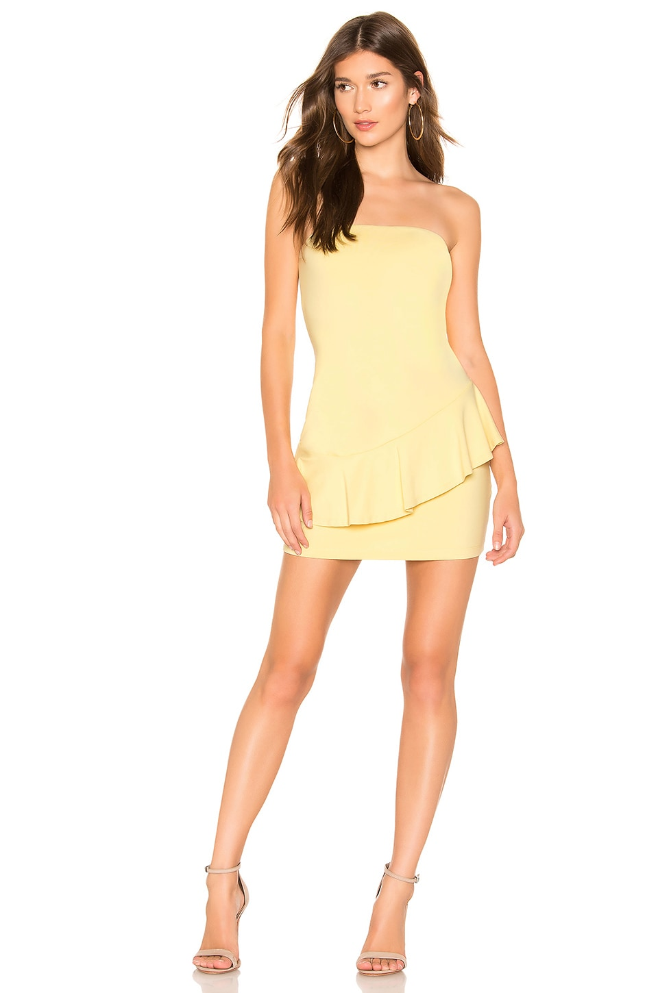Susana Monaco Strapless Cross Ruffle Dress in Custard