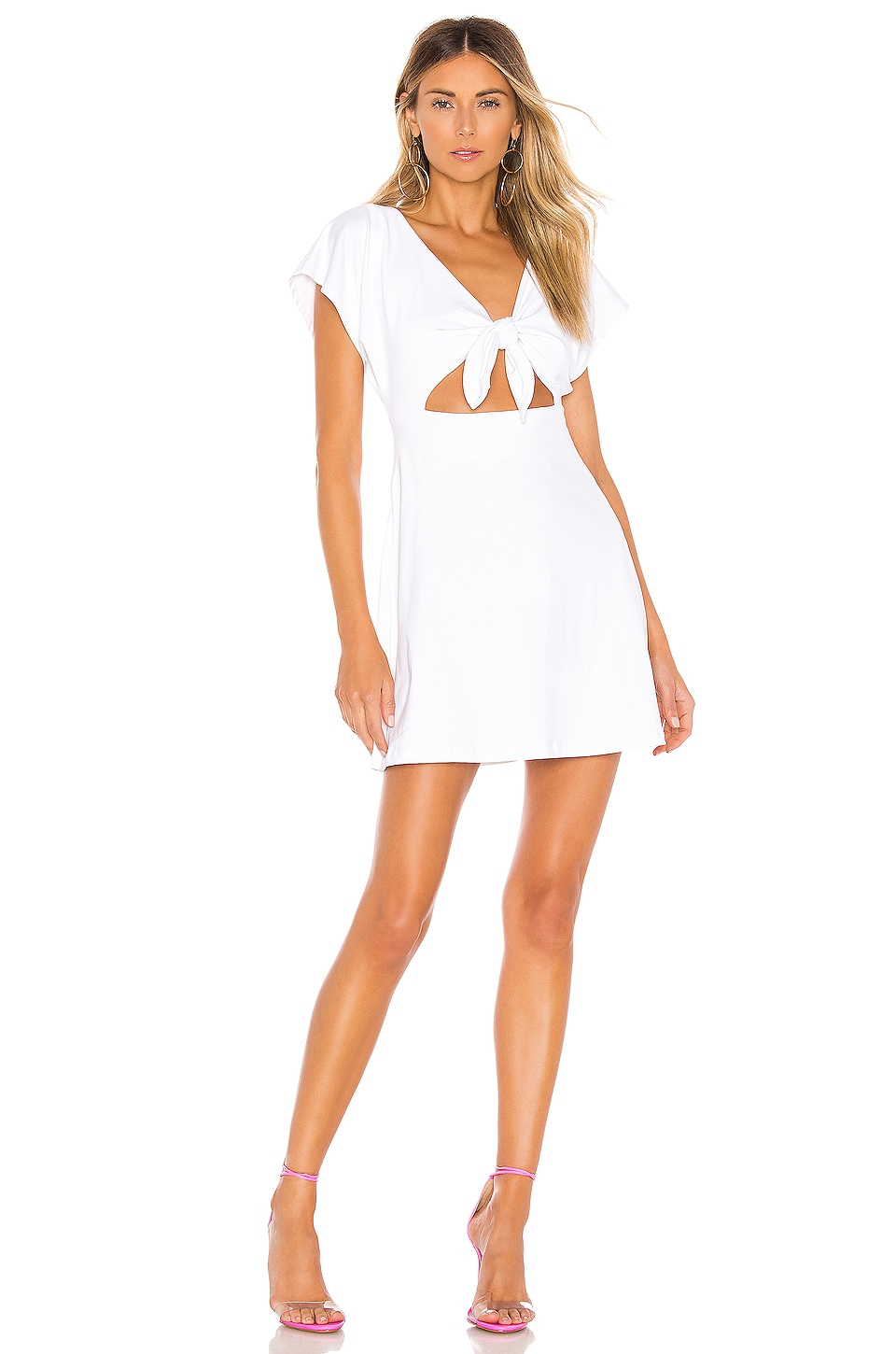 Susana Monaco Bow Front Dolman Mini Dress in Sugar
