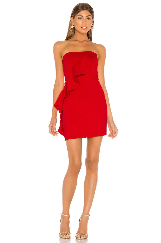 Susana Monaco Spiral Ruffle Mini Dress in Perfect Red