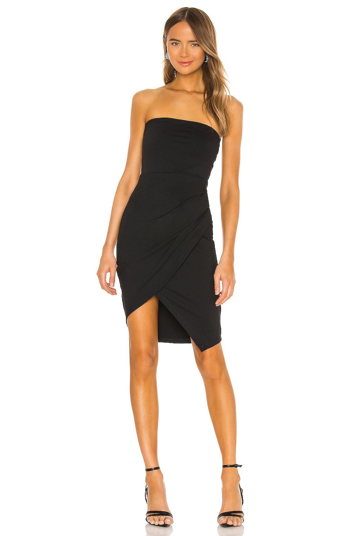 Susana Monaco Strapless Side Pleat Dress in Black