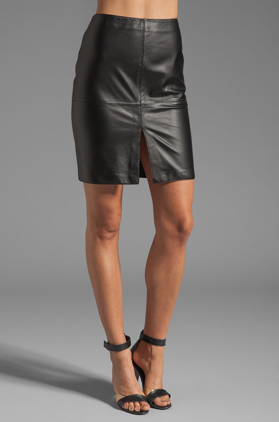 Susana Monaco Adel Leather Skirt in Black