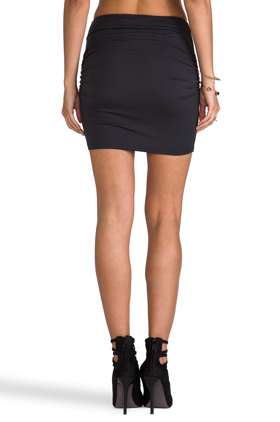 "Susana Monaco Light Supplex Rouched 18"" Skirt in Onyx"