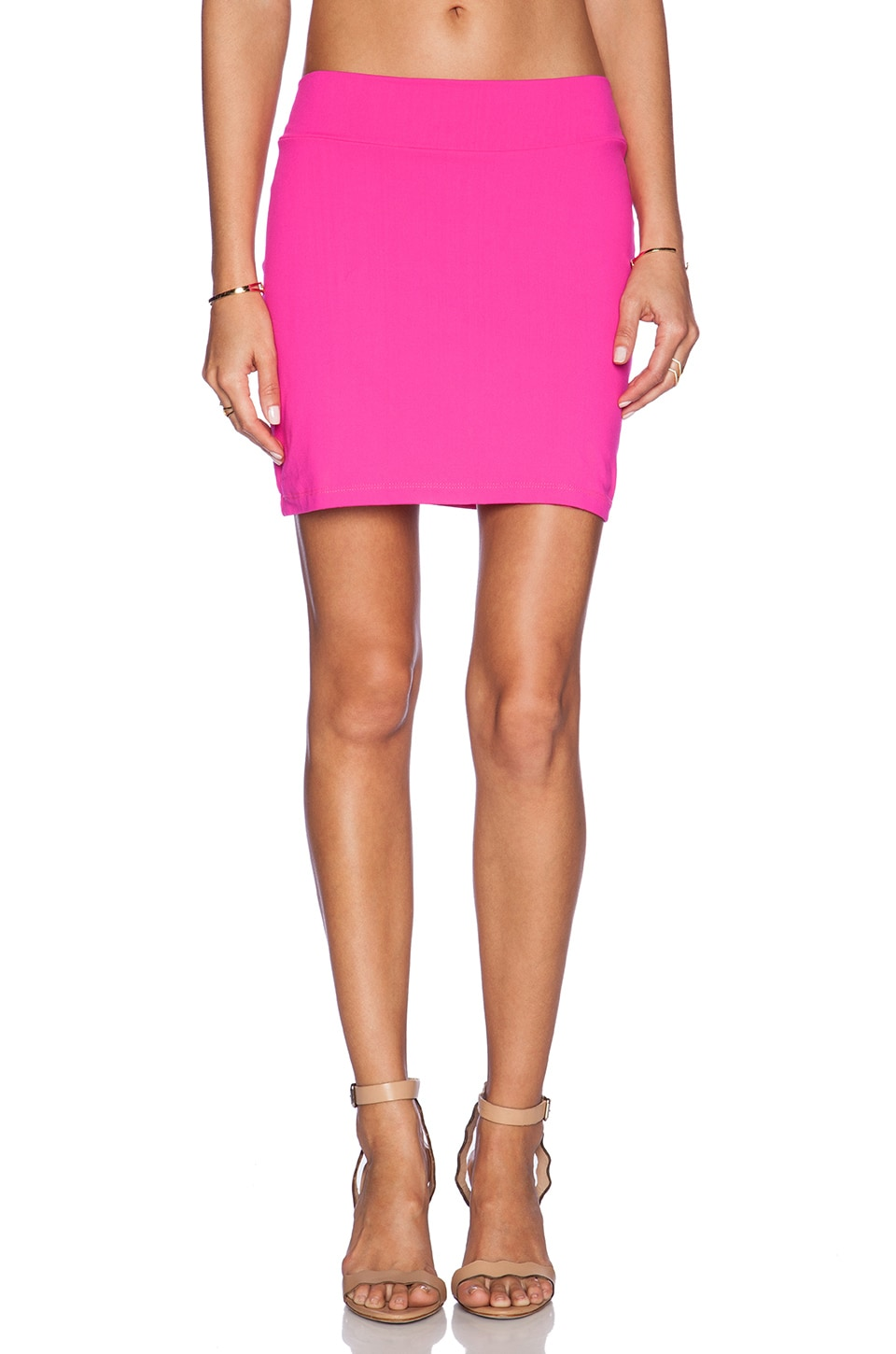 Susana Monaco Slim Mini Skirt in Pink Glo