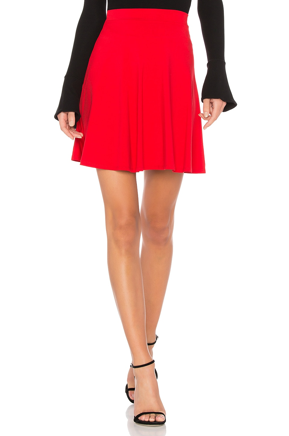 Susana Monaco High Waist Flare Skirt in Perfect Red