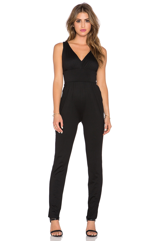 Susana Monaco Gathered Jumpsuit in Black