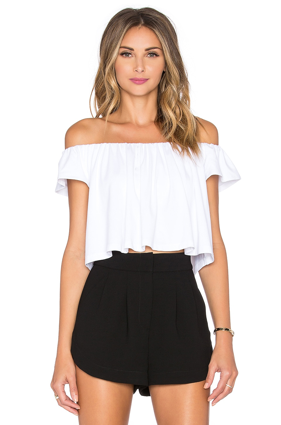Susana Monaco Off the Shoulder Crop Top in Sugar