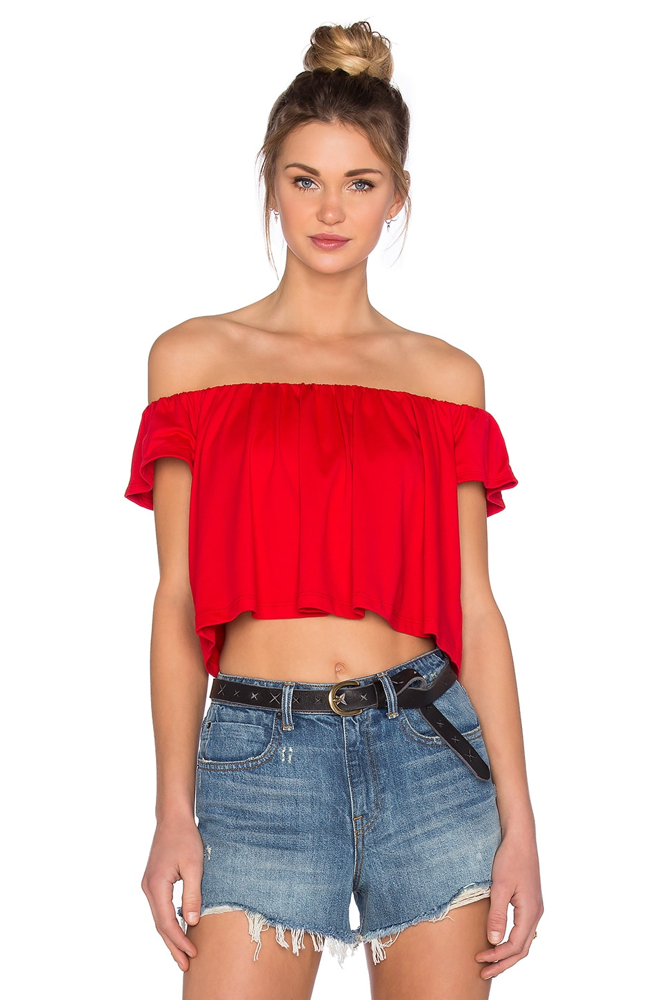 Susana Monaco Off the Shoulder Crop Top in Perfect Red