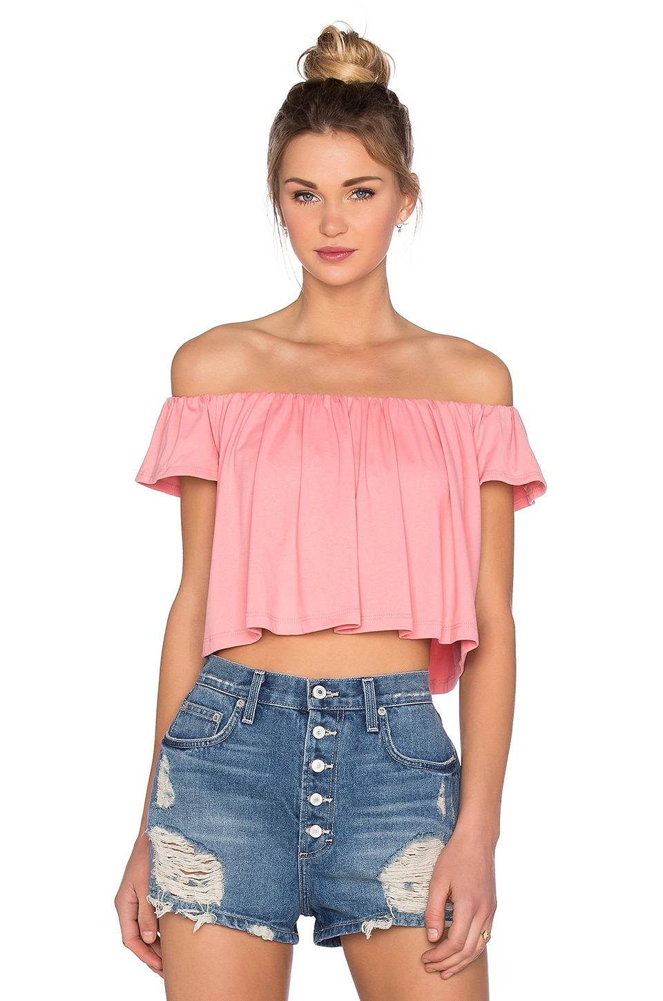 Susana Monaco Off the Shoulder Crop Top in Sorbet