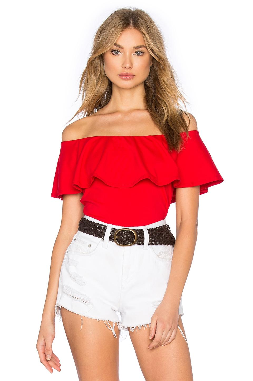 Susana Monaco Ruffle Off Shoulder Top in Perfect Red