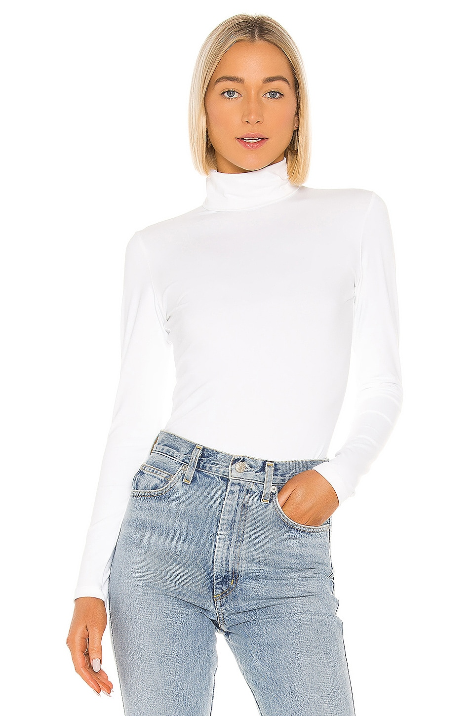 Susana Monaco Foldover Turtleneck Long Sleeve Top in Sugar