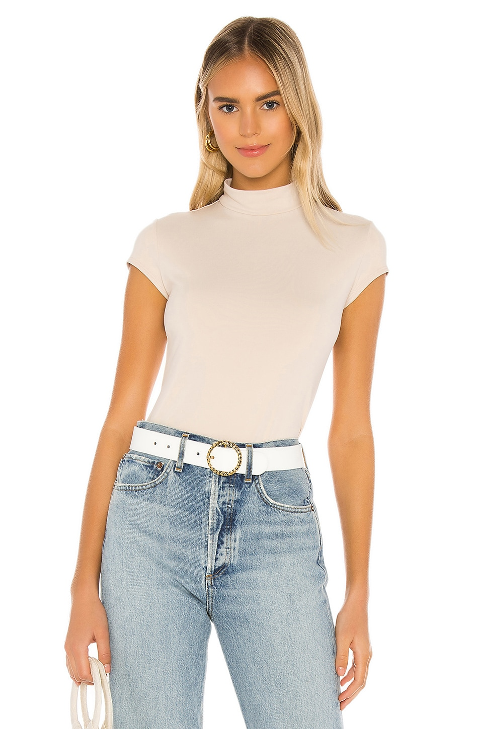 Susana Monaco Mock Neck Short Sleeve Tee in Almond Milk