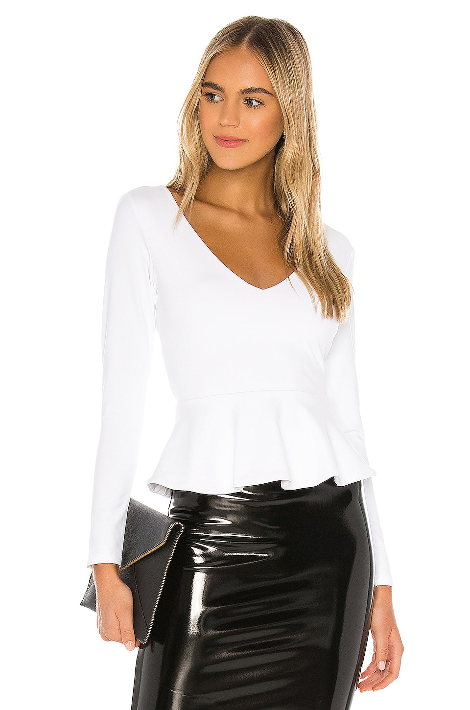 Susana Monaco Long Sleeve Peplum Blouse in Sugar