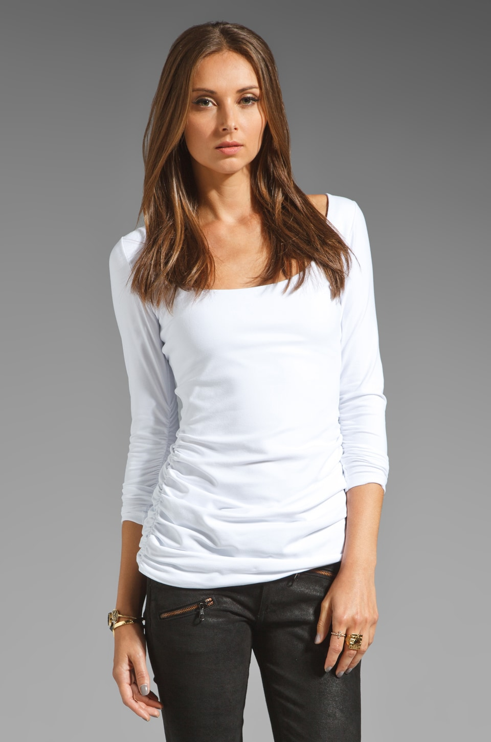Susana Monaco Scoop Gather Sleeve Tee in Sugar