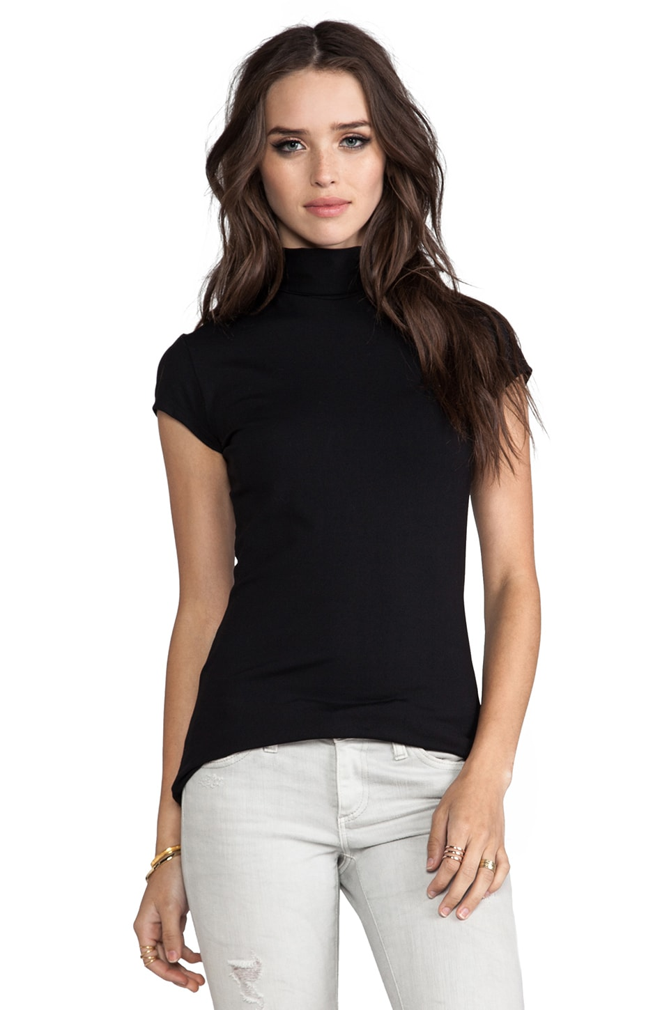Susana Monaco Short Sleeve Turtleneck Top in Black