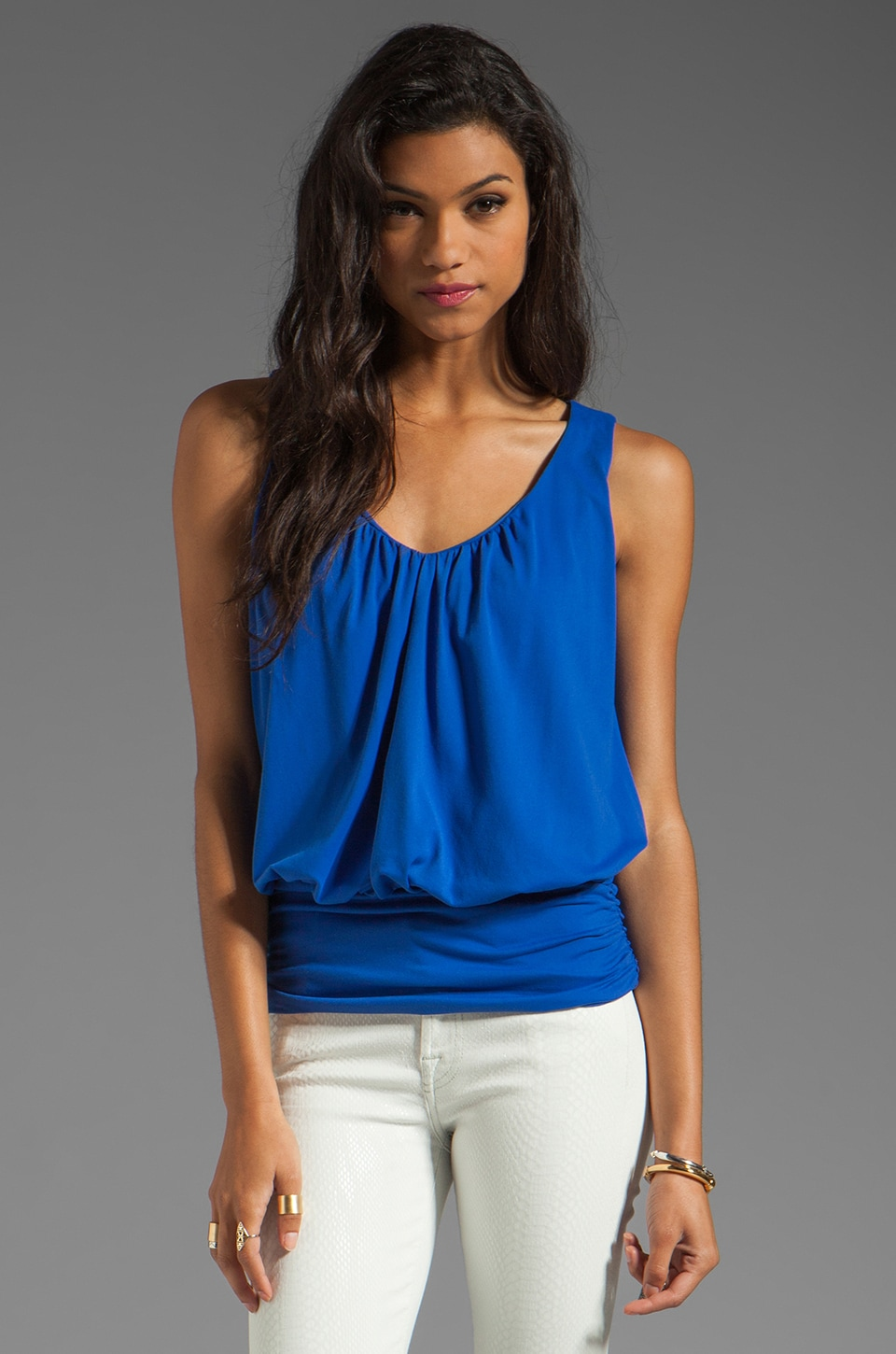 Susana Monaco Light Supplex Gathered V Sleeveless Top in Lapis