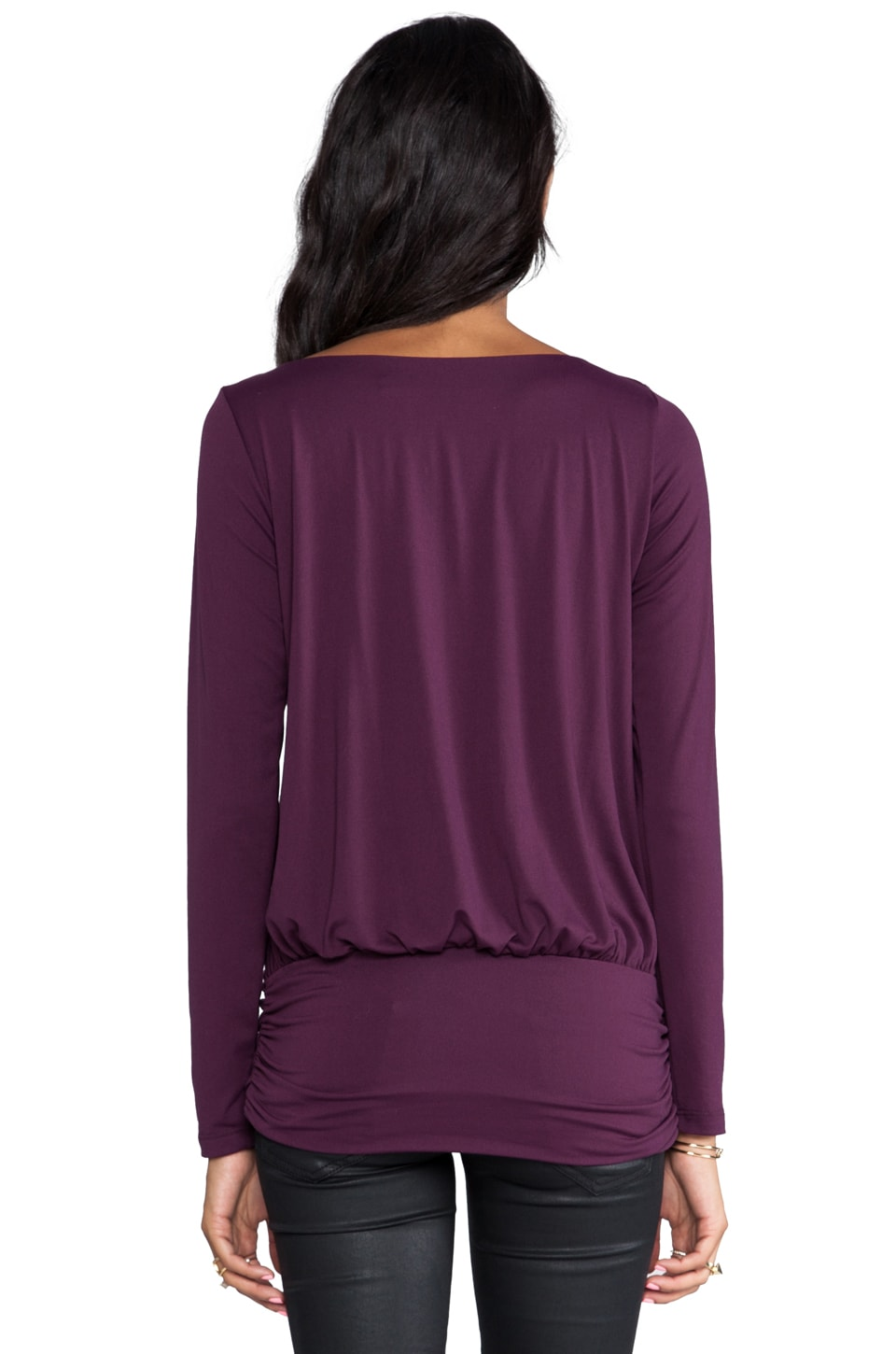 "Susana Monaco Light Supplex Long Sleeve 10"" Top in Ruby"