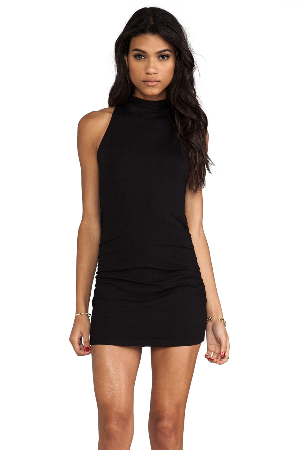 Susana Monaco Harper Turtleneck Tank in Black