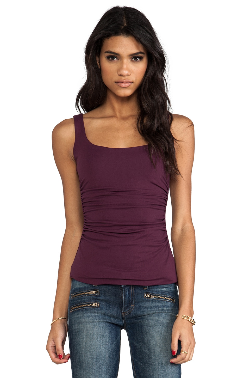 Susana Monaco Scoop Gather Tank in Ruby