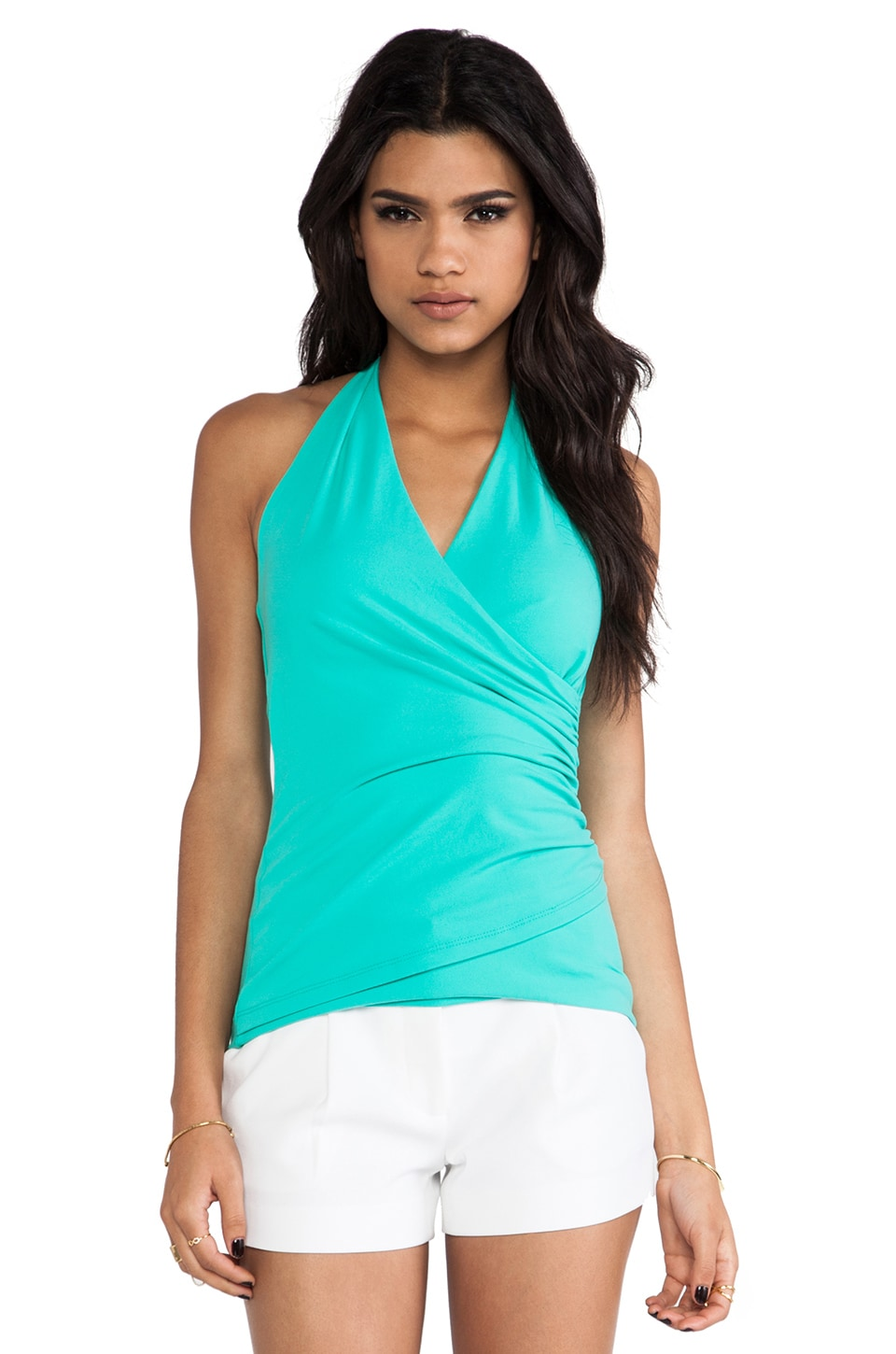 Susana Monaco Wrap Halter Top in Beach Glass