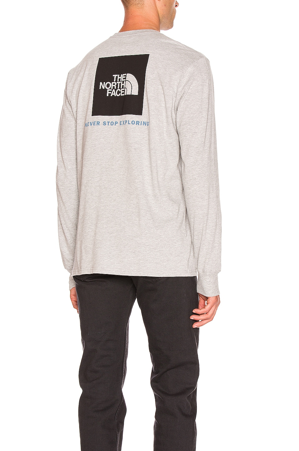 The North Face L/S Red Box Tee in TNF Light Grey Heather & TNF Black