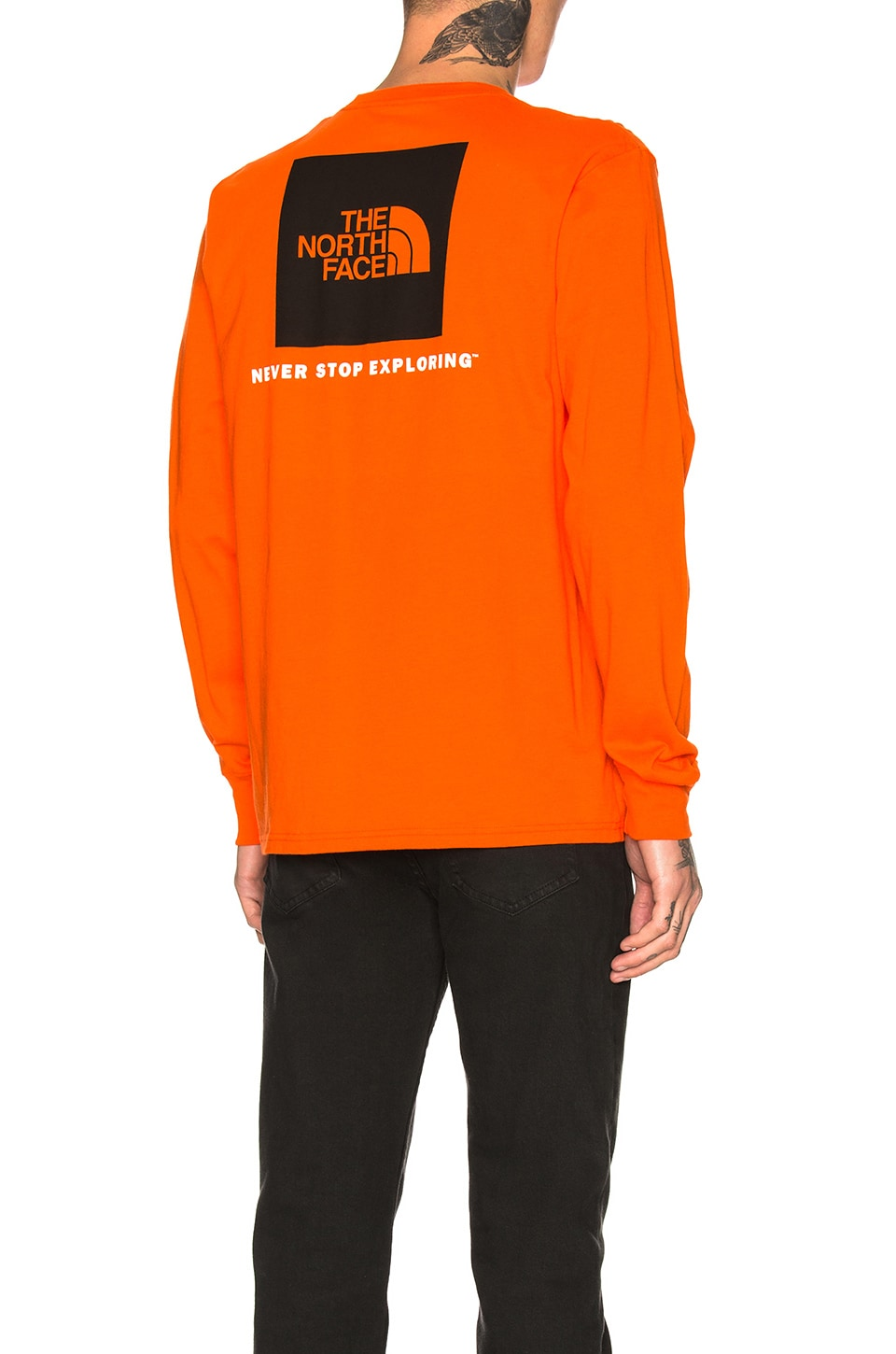 e0323d52d The North Face Long Sleeve Red Box Tee in Persian Orange & TNF Black ...