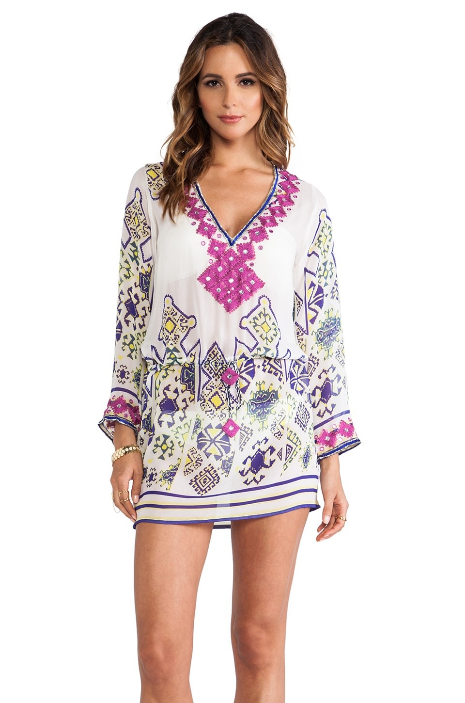 Taj Embellished Long Sleeve Mini Dress in White Multi
