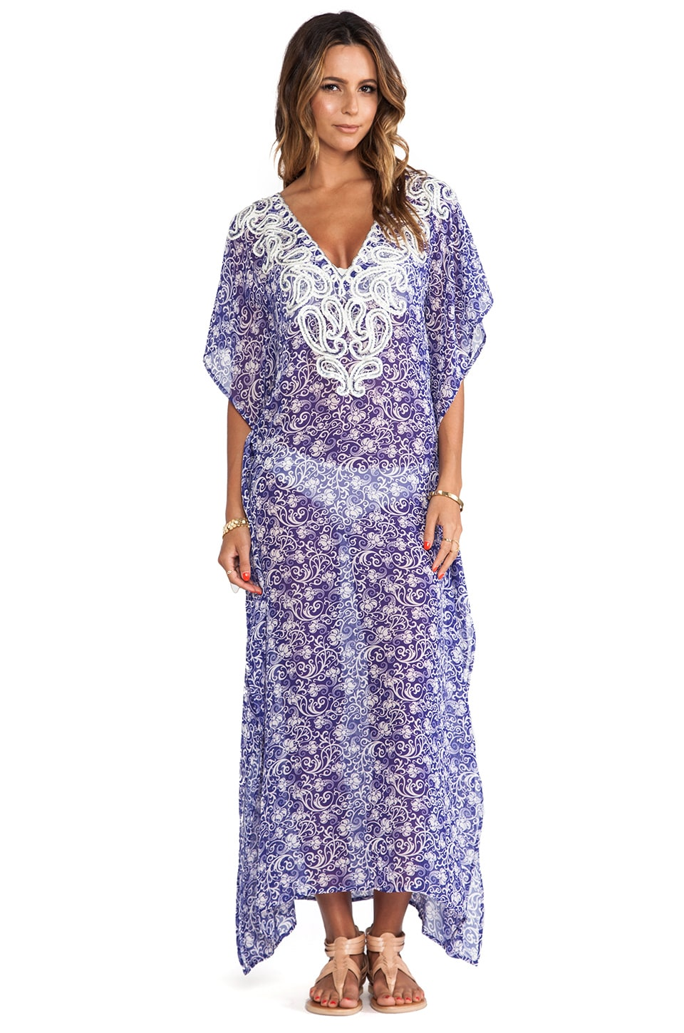Taj Maxi Cover-Up in Blue/White