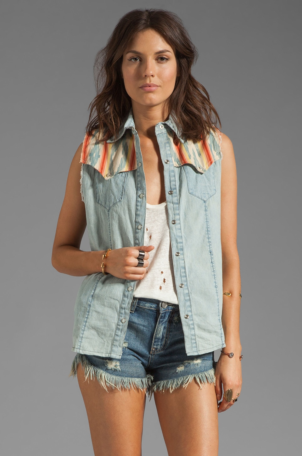 Tallow Akutu Denim Vest in Stonewash