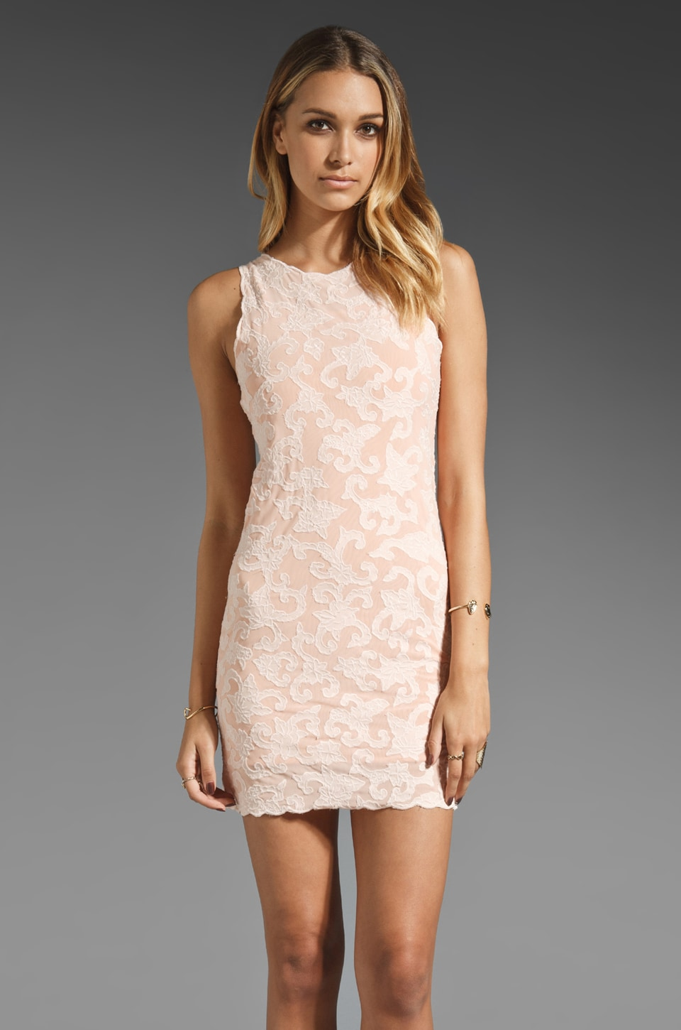 Talulah Horizon Lace Dress in Pastel Peach