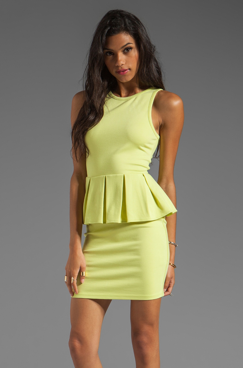 Talulah My Soft Petal Peplum Dress in Lime
