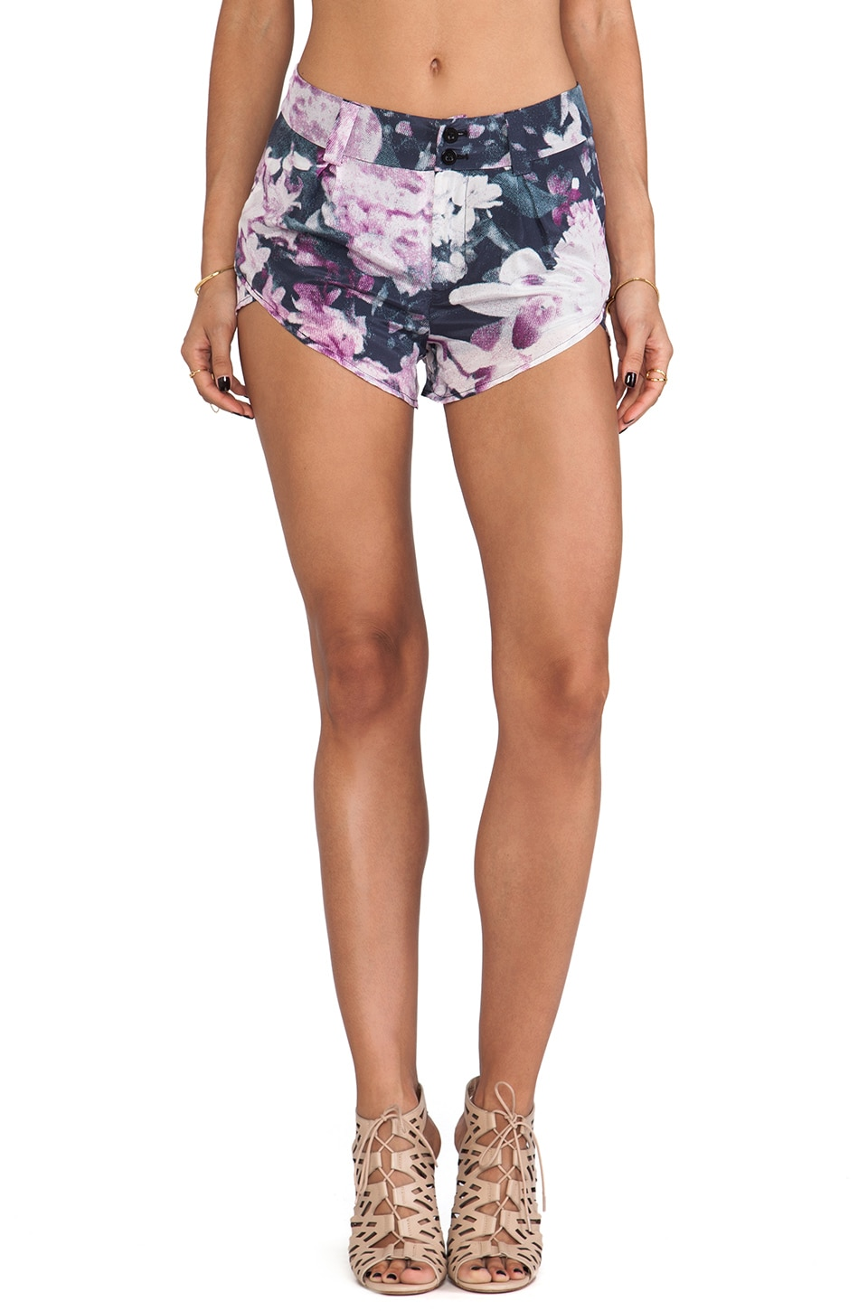 Talulah Wind Swirls Shorts in Black Jasmine Print