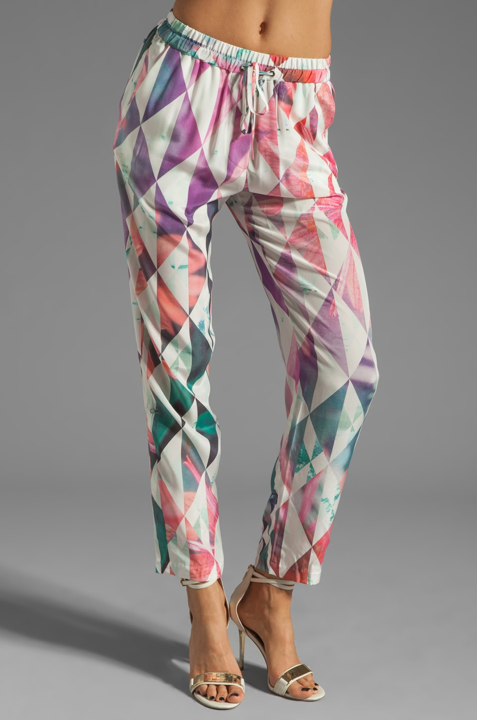 Talulah Garden Daydream Pant in Geometric Floral/White