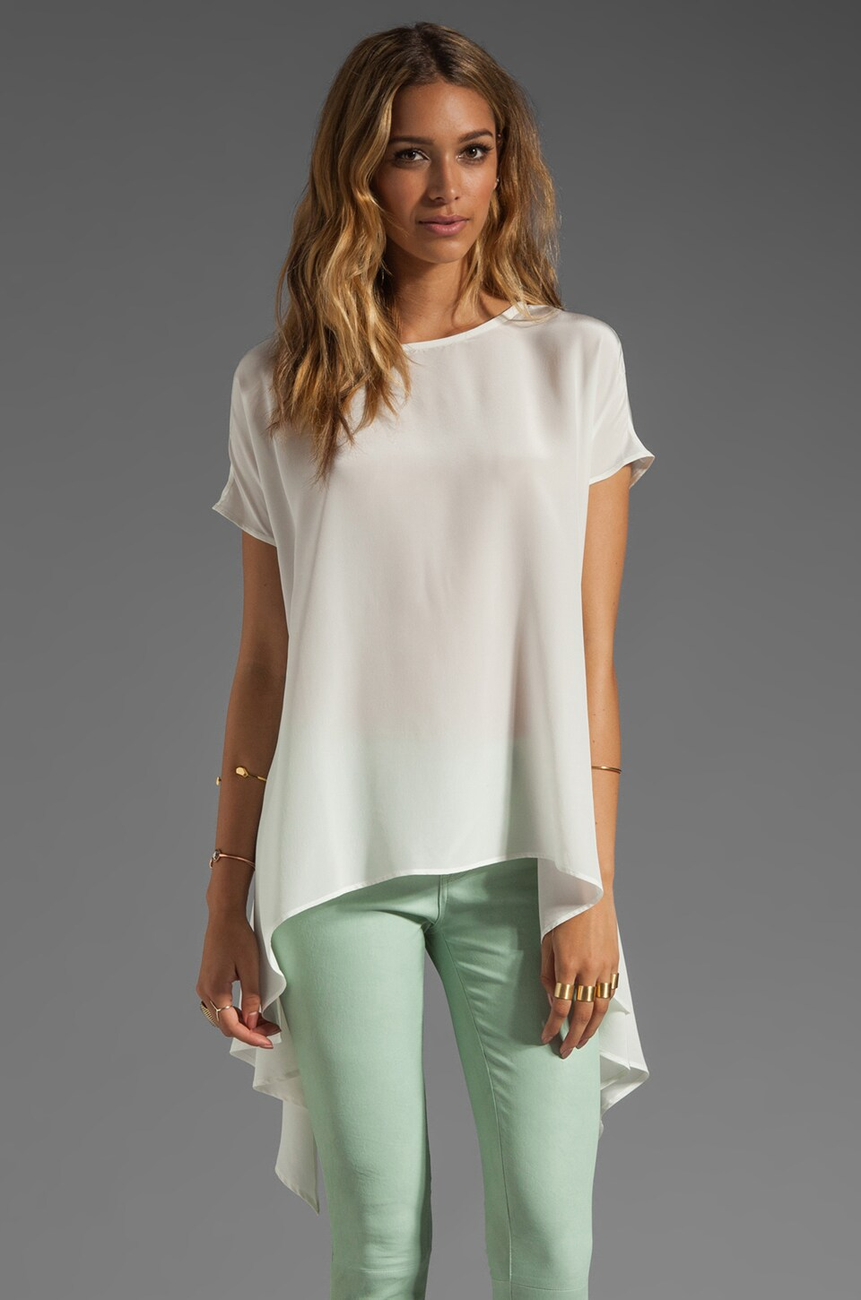 Talulah Uneven Hemline Top in White